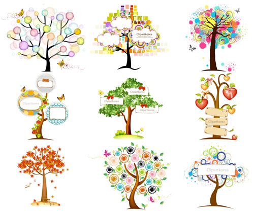 Free vector trees and leaves 10