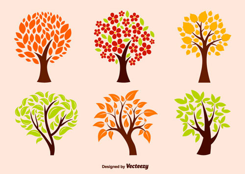 Free vector trees and leaves 2