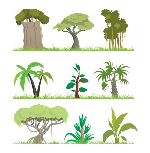 Free vector trees and leaves 3