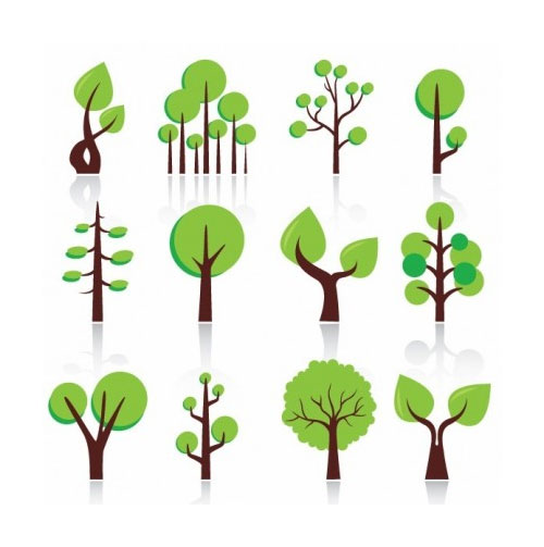 Free vector trees and leaves 4