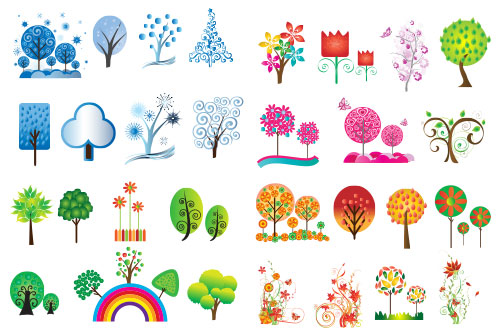 Free vector trees and leaves 5