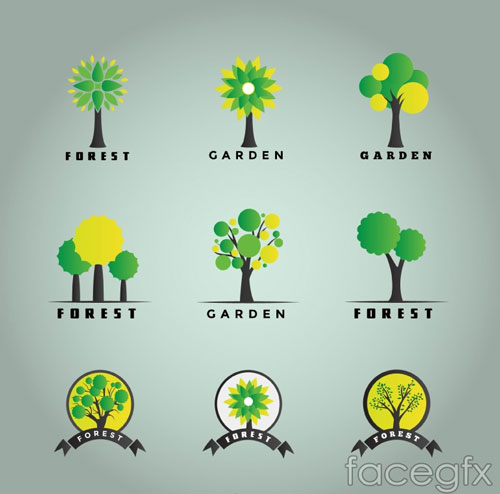 Free vector trees and leaves 6