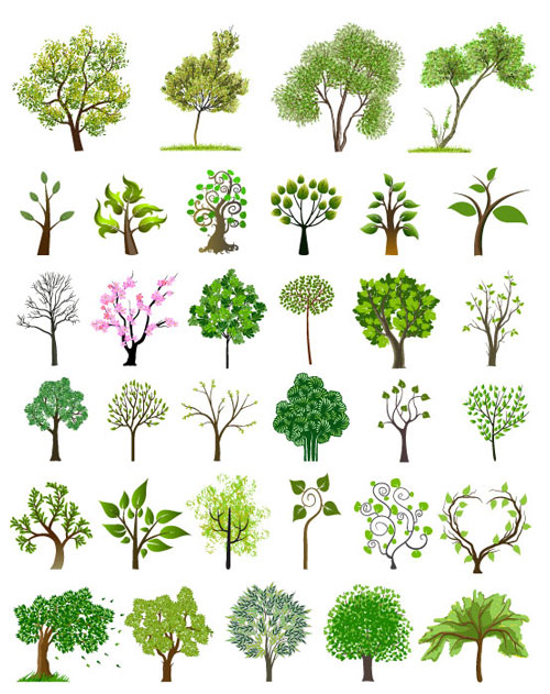 Free vector trees and leaves 7