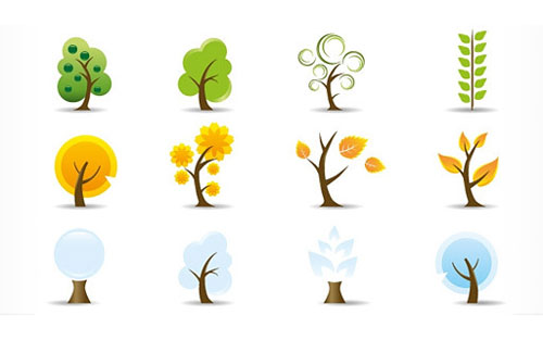 Free vector trees and leaves 8