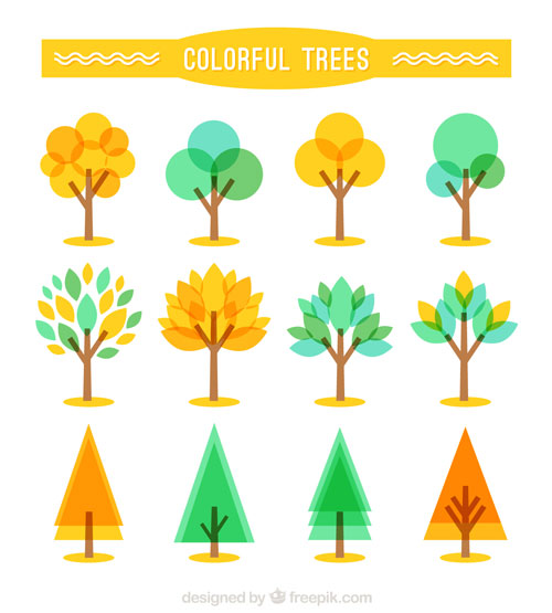 Free vector trees and leaves 9