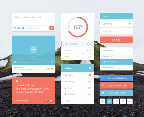 Free minimalist UI design kit 2