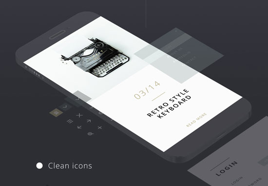 Free minimalist UI design kit 3