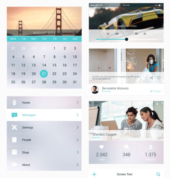 Free minimalist UI design kit 13