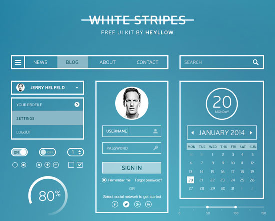 Free minimalist UI design kit 15