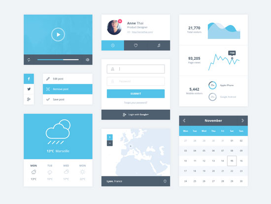 Free minimalist UI design kit 7