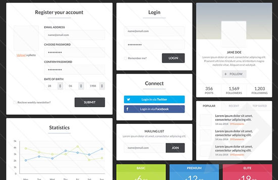 Free minimalist UI design kit 8