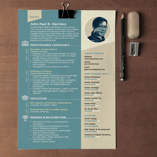 free 1page indesign resume template designfreebies