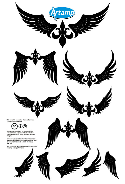 collection of free elegant vector wings designfreebies