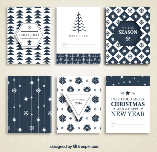 Collection of blue christmas cards Free Vector