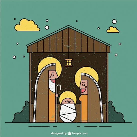 Nativity scene in flat design