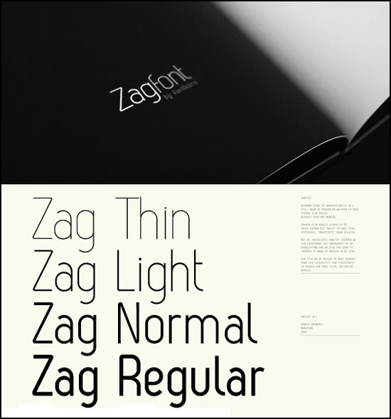 Free thin fonts - Zag