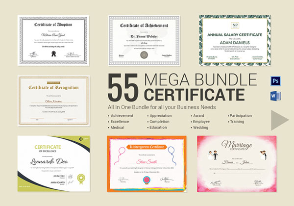 10 sets of free certificate design templates designfreebies 55 printable mega certificate bundle useful to everyone word and psd yadclub Image collections