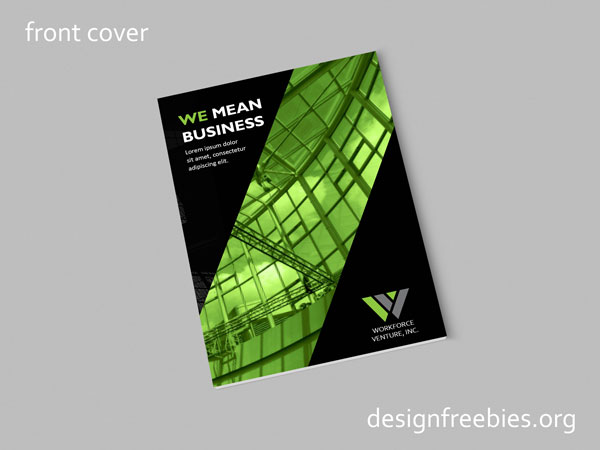Free company profile InDesign template front cover