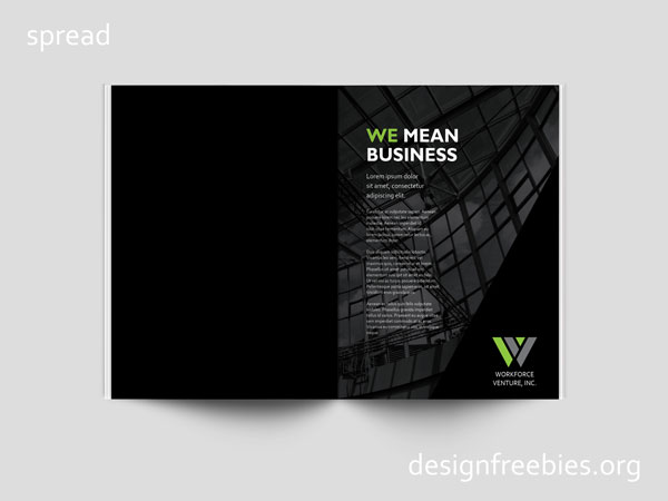 Free company profile InDesign template spread 1