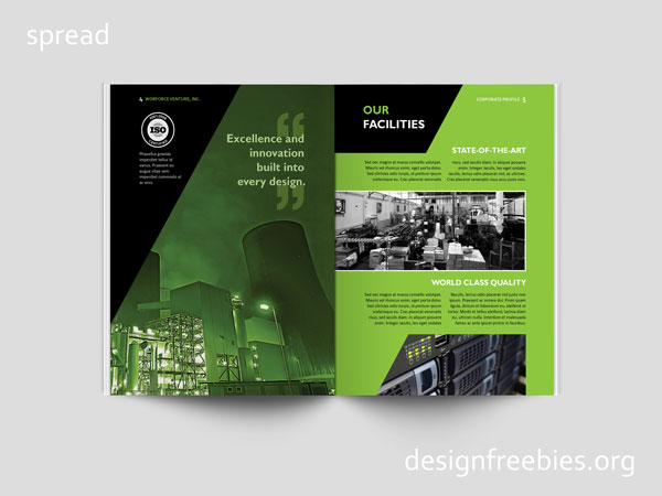 Free company profile InDesign template spread 3