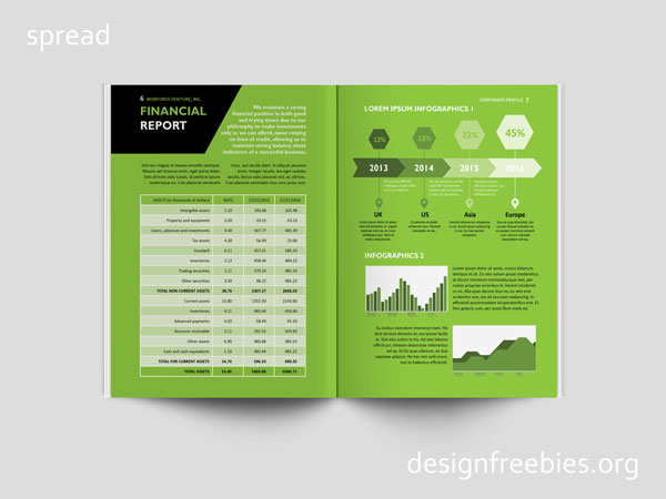 Free company profile InDesign template spread 4