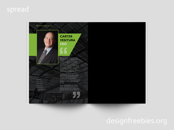 Free company profile InDesign template spread 5