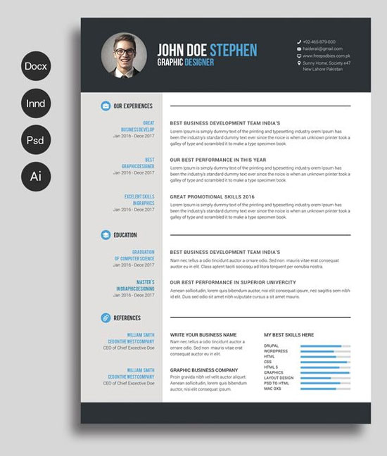 Resume Template / Cv Template + Free Cover Letter For Ms Word