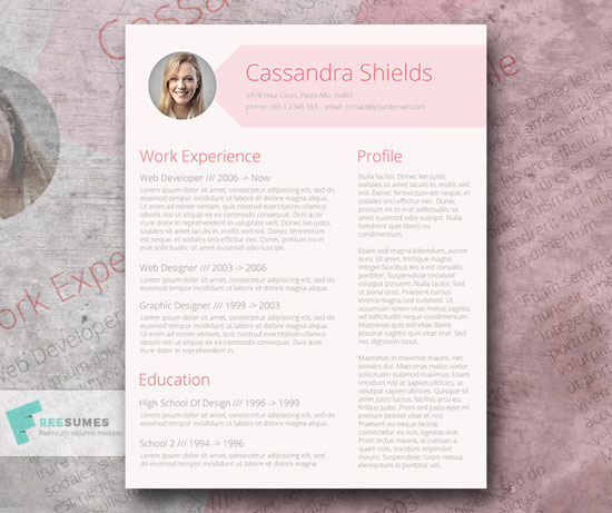 Free cv resume templates in word format 6