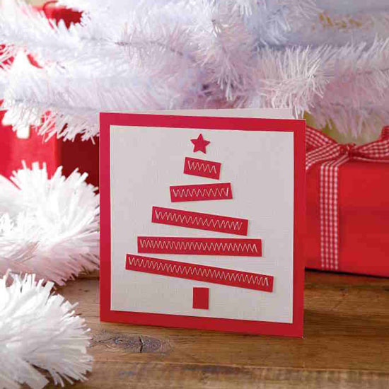 Red and white stitched DIY Christmas card