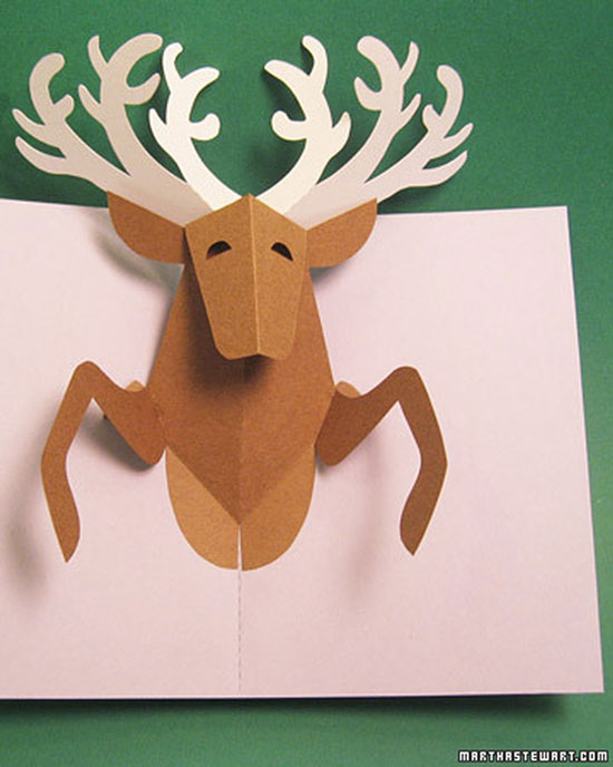 Reindeer pop-up Christmas card
