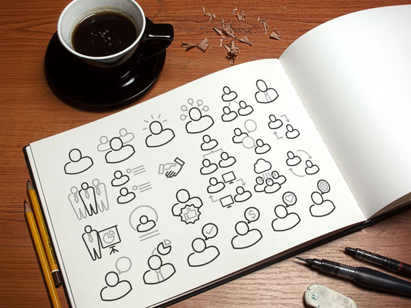 free simple business people vector icon set
