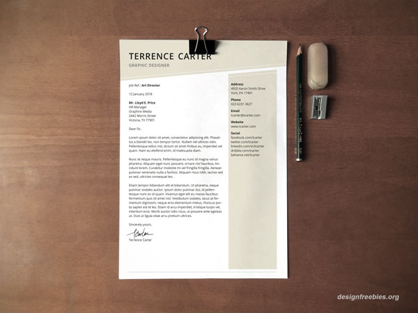 Free 1-page cover letter indesign tempate