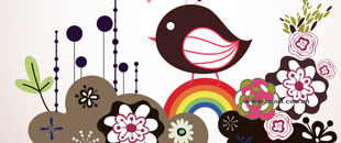 10 Sets of Free Birds and Flowers Vector Graphics